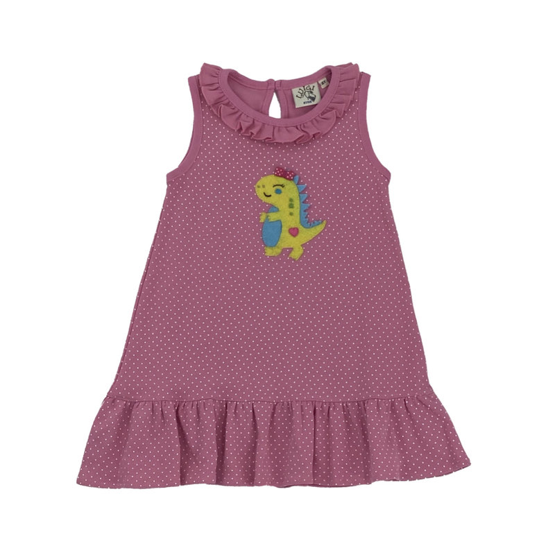BABY LUIGI PRNT SLVLSS RFFL DRESS- BABY DINO W BOW/HEART