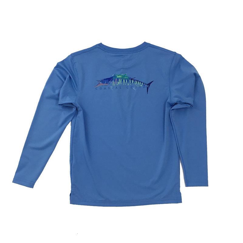 COASTAL COTTON CLOTHING YOUTH MAUI BLUE WAHOO LS PERFORMANCE TEE