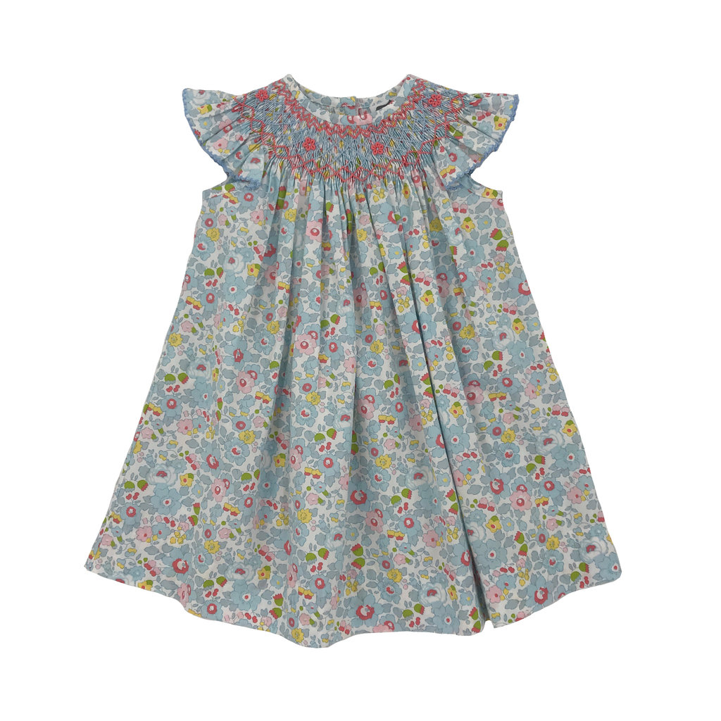 TRUE BLUE FLORAL GEO BISHOP DRESS