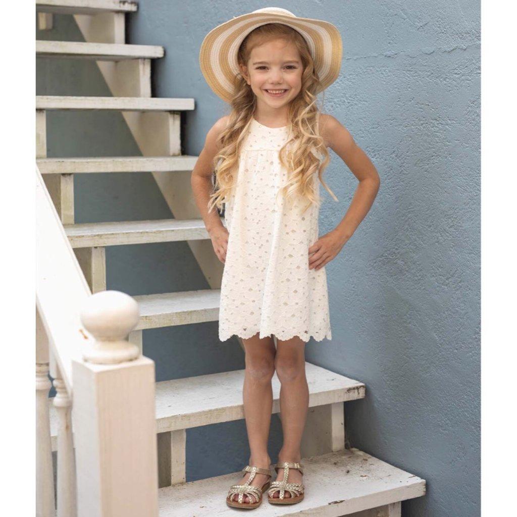 ISOBELLA & CHLOE FLOWER SHIFT DRESS- WHITE