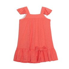 ISOBELLA & CHLOE CORAL KNIT DRESS WITH BOW- PINK