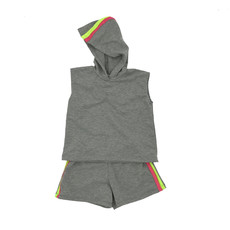CARMEN FRENCH TERRY HOODIE AND HALLIE STRIPE SHORTS