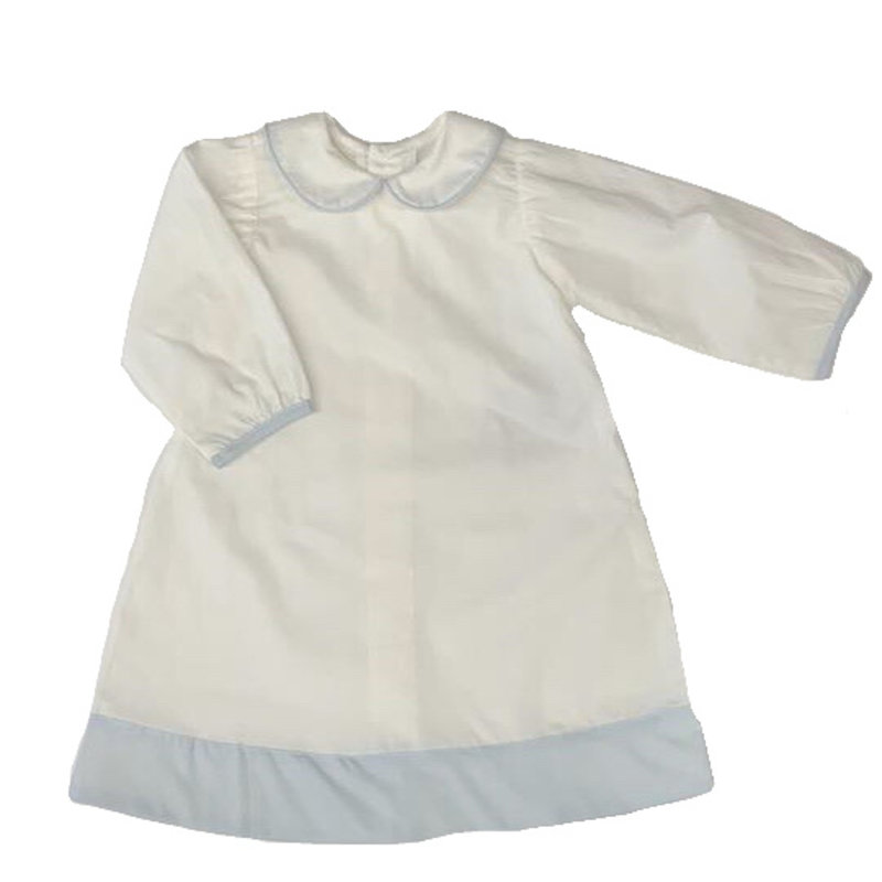 BABY SEN WHITE/BLUE BROOKS BOY DAYGOWN