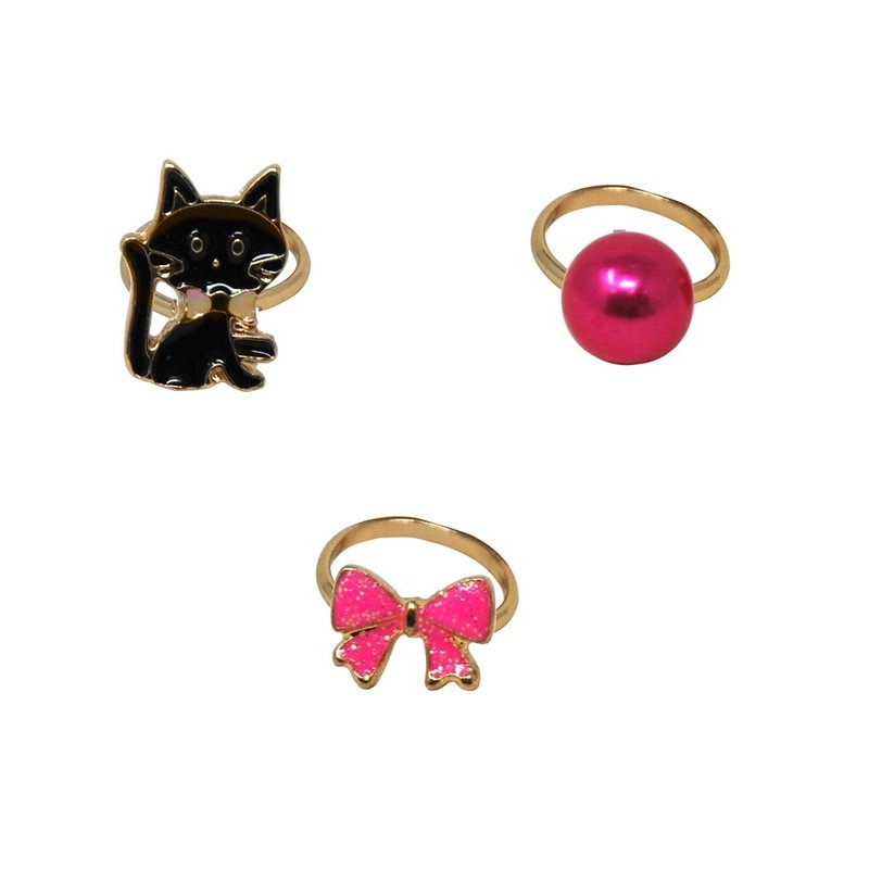 KITTENS AND BOWS ADJUSTABLE RING- SET OF 3