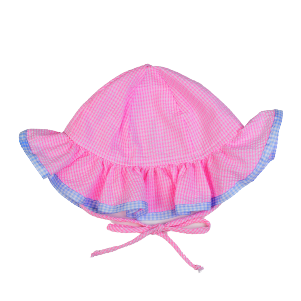 FUNTASIA TOO PINK CHECK HAT WITH RIBBONS