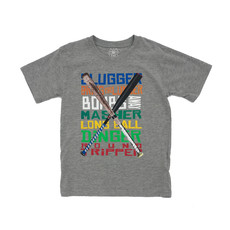WES AND WILLY BASEBALL WORDS SS TEE- HEATHER