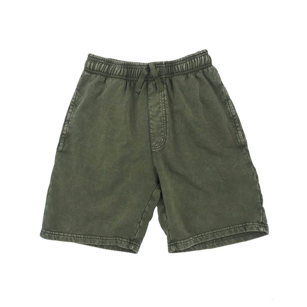 WES AND WILLY FADED FLEECE SHORT- OD GREEN