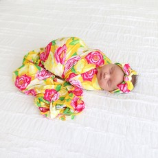POSH PEANUT ANNIKA - INFANT SWADDLE AND HEADWRAP SET