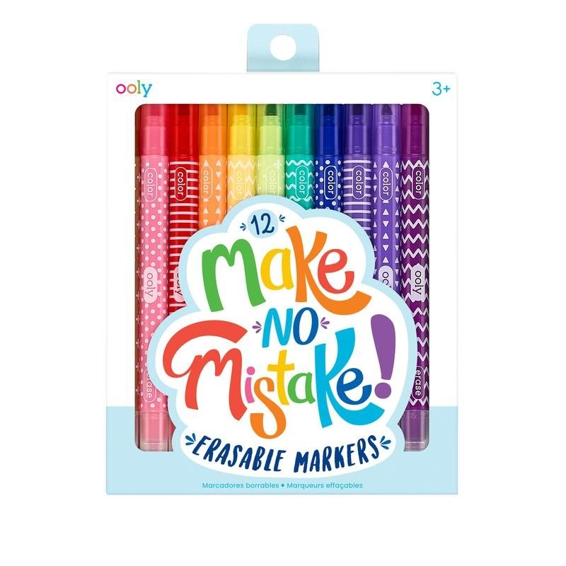 OOLY MAKE NO MISTAKE ERASABLE MARKERS- SET OF 12