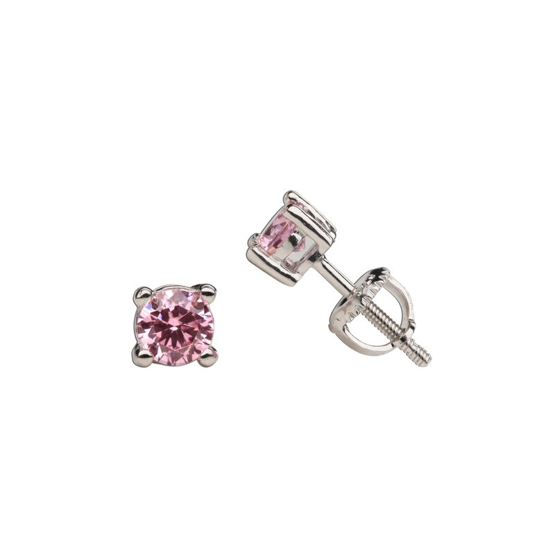 CHERISHED MOMENTS STERLING SILVER PINK CZ STUD EARRINGS