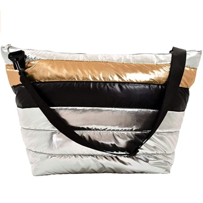 ISCREAM SILVER AND GOLD PUFFER BAG