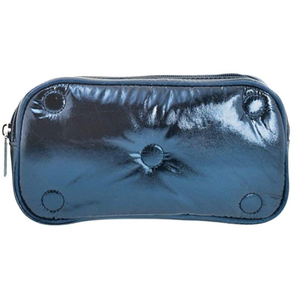 ISCREAM BLUE METALLIC TUFTED SM. COSMETIC BAG