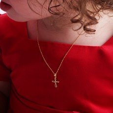 CHERISHED MOMENTS 14K GOLD PLATED CROSS NECKLACE