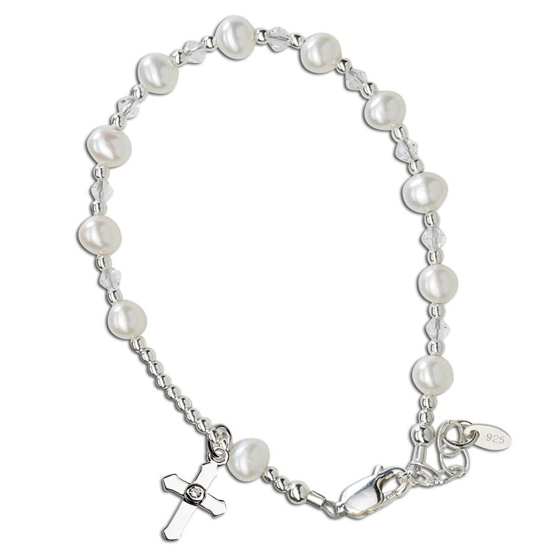 CHERISHED MOMENTS STERLING SILVER FIRST COMMUNION ROSARY CROSS BRACELET