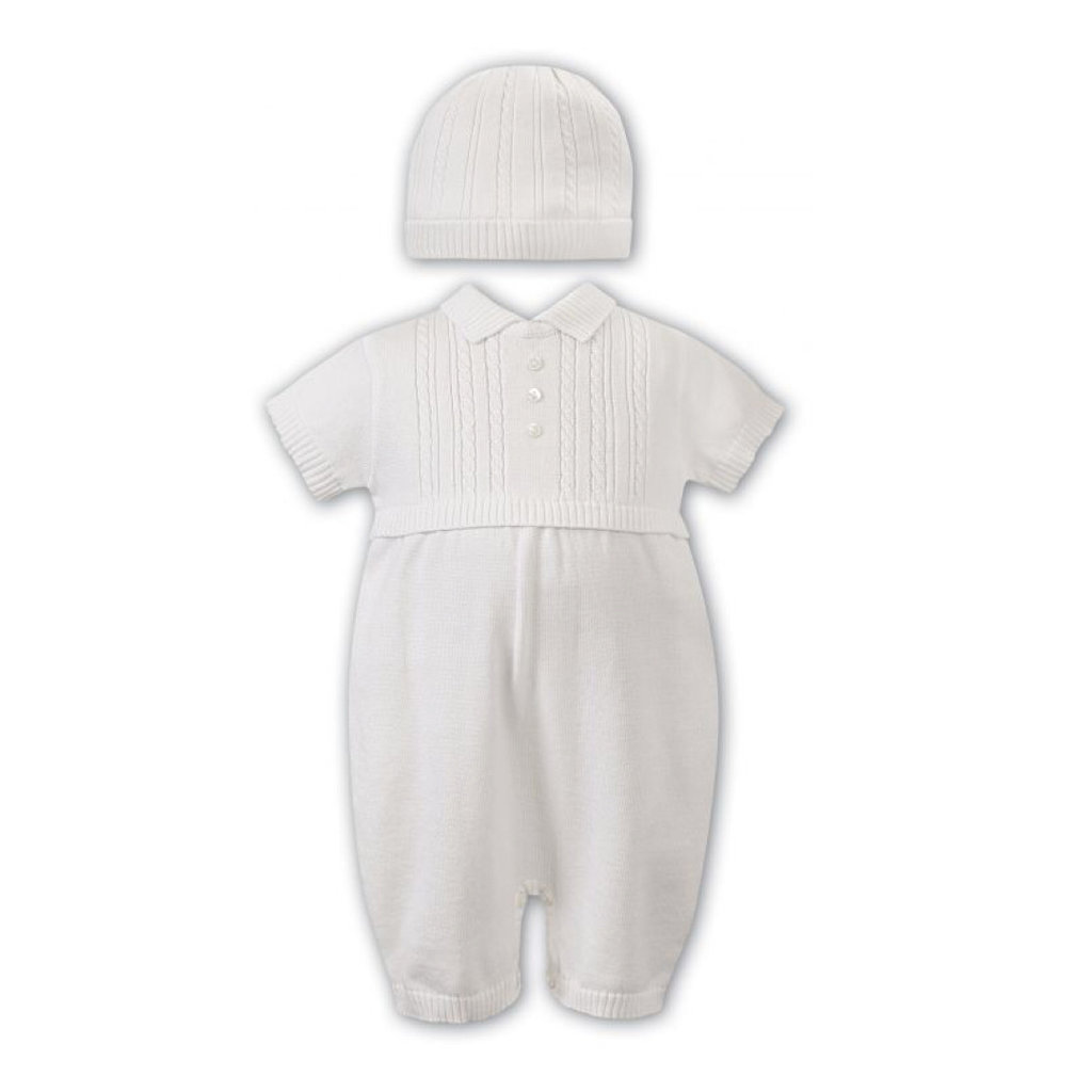 SARAH LOUISE IVORY KNIT ROMPER AND HAT