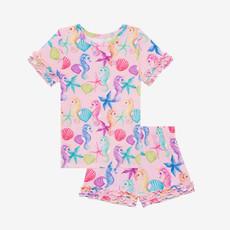 POSH PEANUT Coral - Basic Short Sleeve Micro Ruffled T-Shirt & Micro Ruffled Shorts