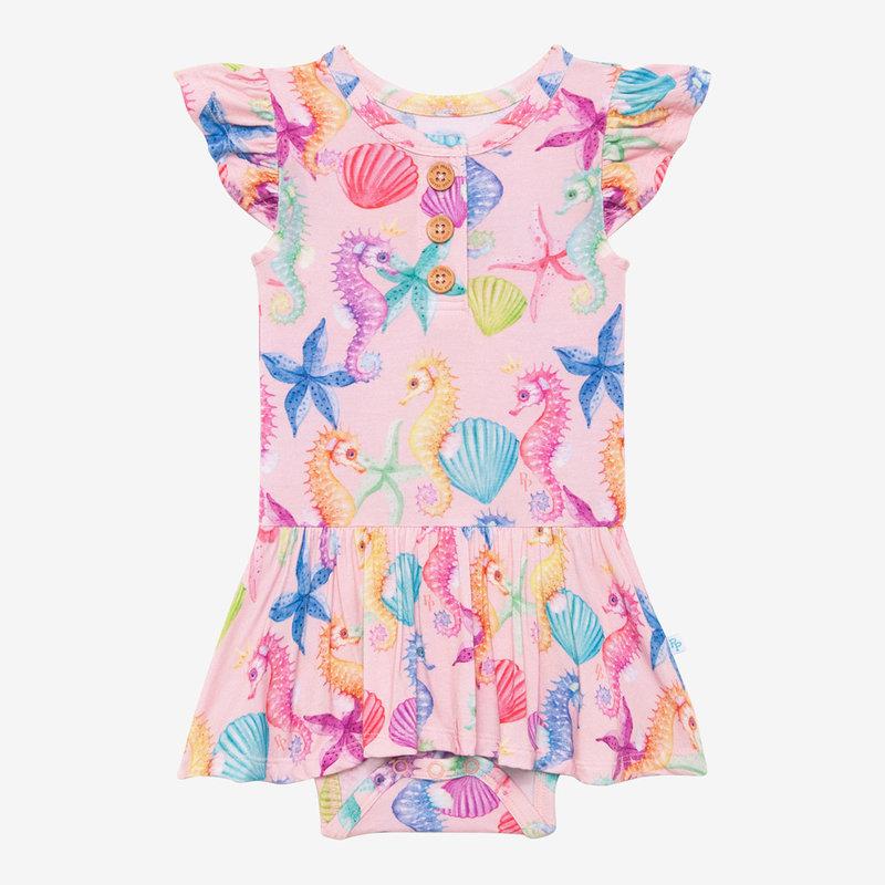 POSH PEANUT Coral - Ruffled Capsleeve Henley Twirl Skirt Bodysuit
