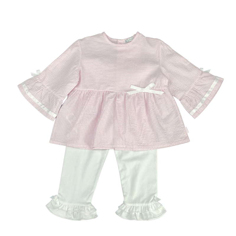 TUTTO PICCOLO PINK BLOUSE AND LEGGINGS