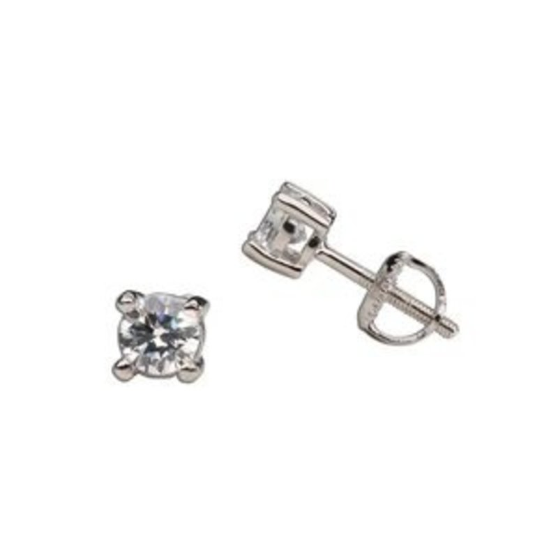 CHERISHED MOMENTS STERLING SILVER CLEAR CZ STUD