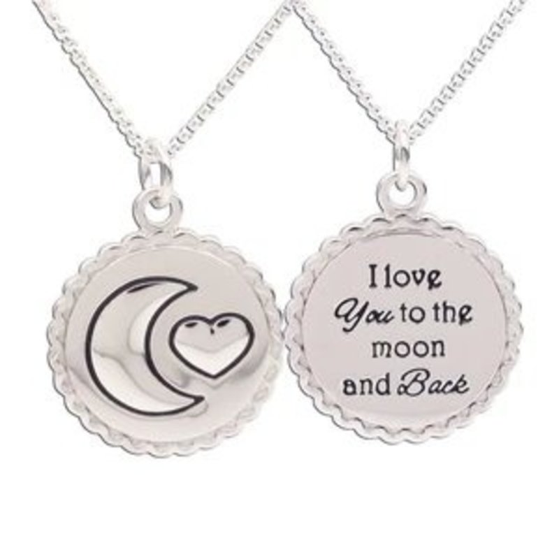 CHERISHED MOMENTS STERLING SILVER KIDS I LOVE YOU TO THE MOON AND BACK NECKLACE