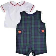 FUNTASIA TOO APPLE TABS PLAID SHORTALL AND RED CORD SS SHIRT