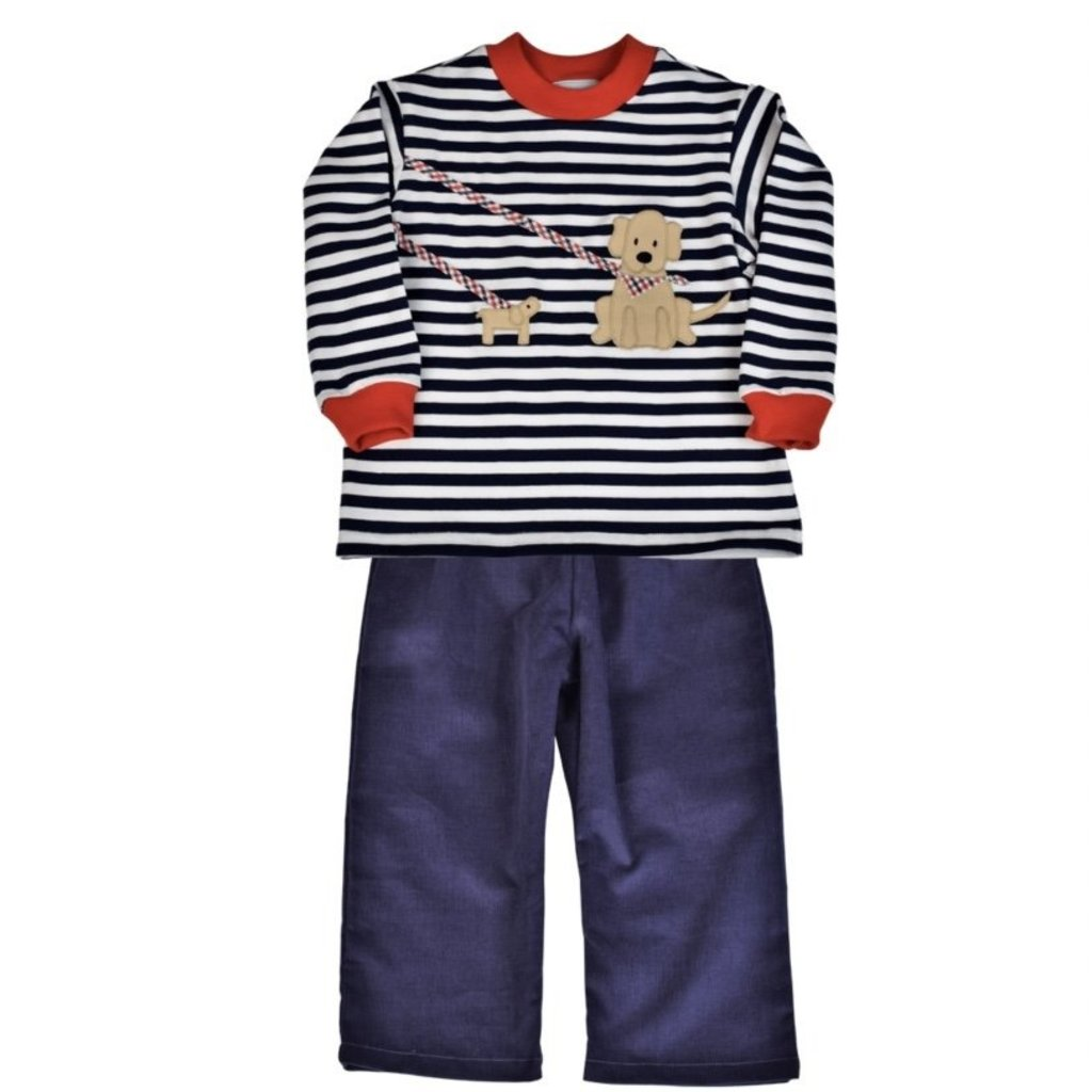 FUNTASIA TOO DOGS WALKING LS TEE AND NAVY PANT