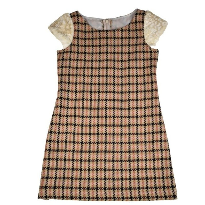 MAGGIE BREEN DRESS WITH FUR SLEEVES - COUTURE PLAID
