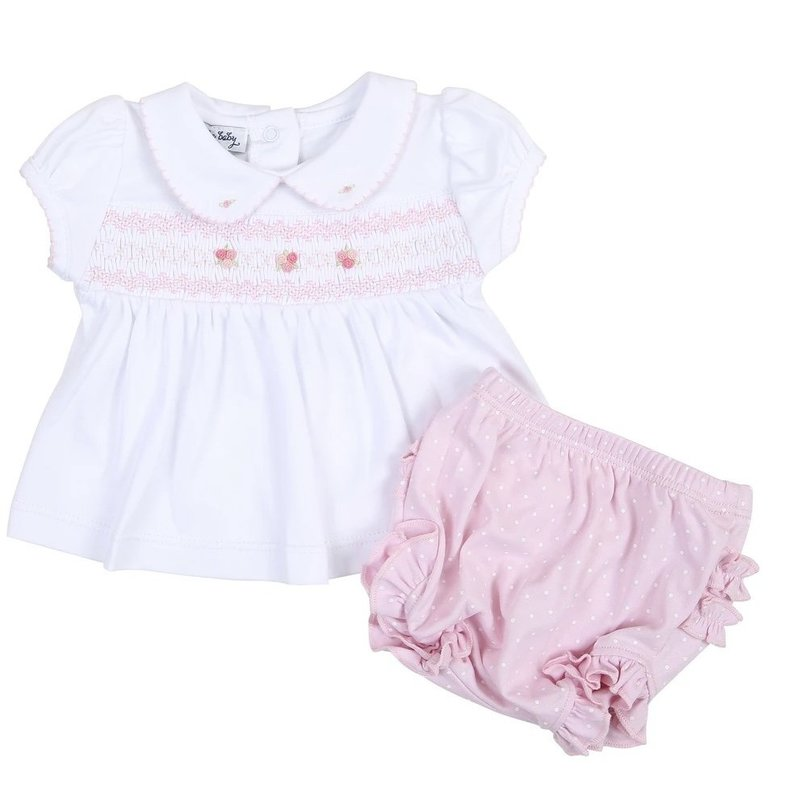 MAGNOLIA BABY LAYLA AND LENNOX SMOCKED COLLARED LS RUFFLE DIAPER COVER SET - PK