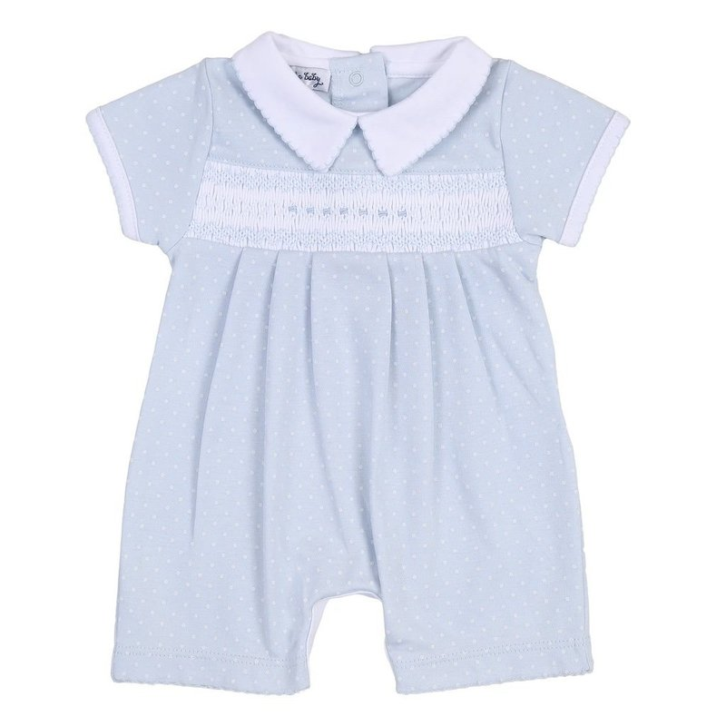 MAGNOLIA BABY LAYLA AND LENNOX SMOCKED COLLARED SHORT PLAYSUIT - LB