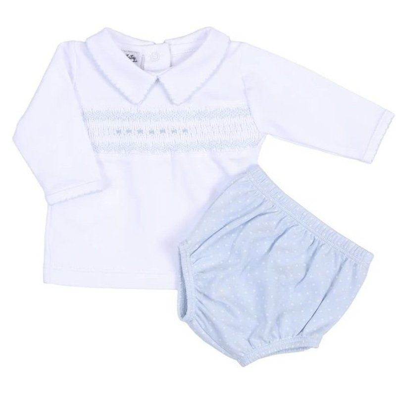 MAGNOLIA BABY LAYLA AND LENNOX SMOCKED COLLARED LS DIAPER COVER SET - LB