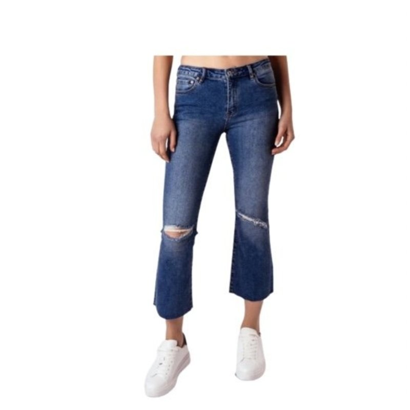 TRACTOR JEANS HIGH RISE CROP FLARE WITH KNEE SLIT