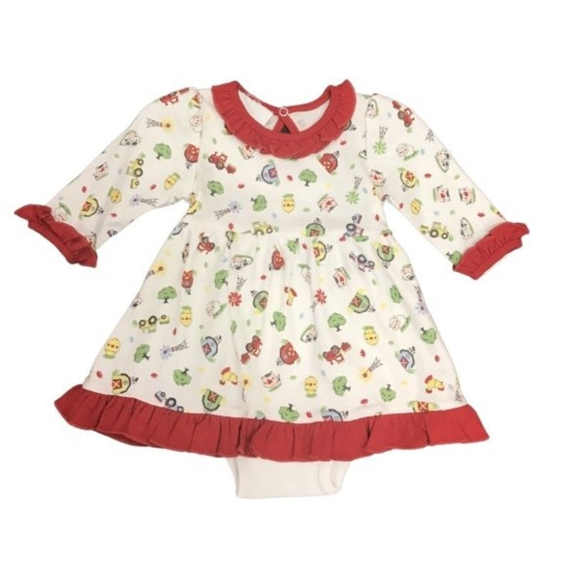 MAGNOLIA BABY FARMLIFE PRINTED LS DRESS SET