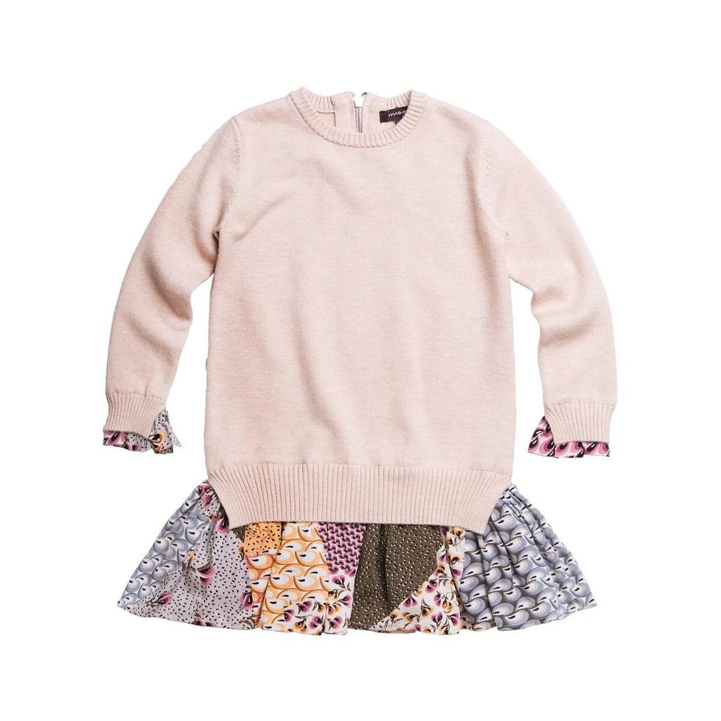 IMOGA FINE SWEATER DRESS WITH PRINTED WOVEN SKIRT - AUTUMN