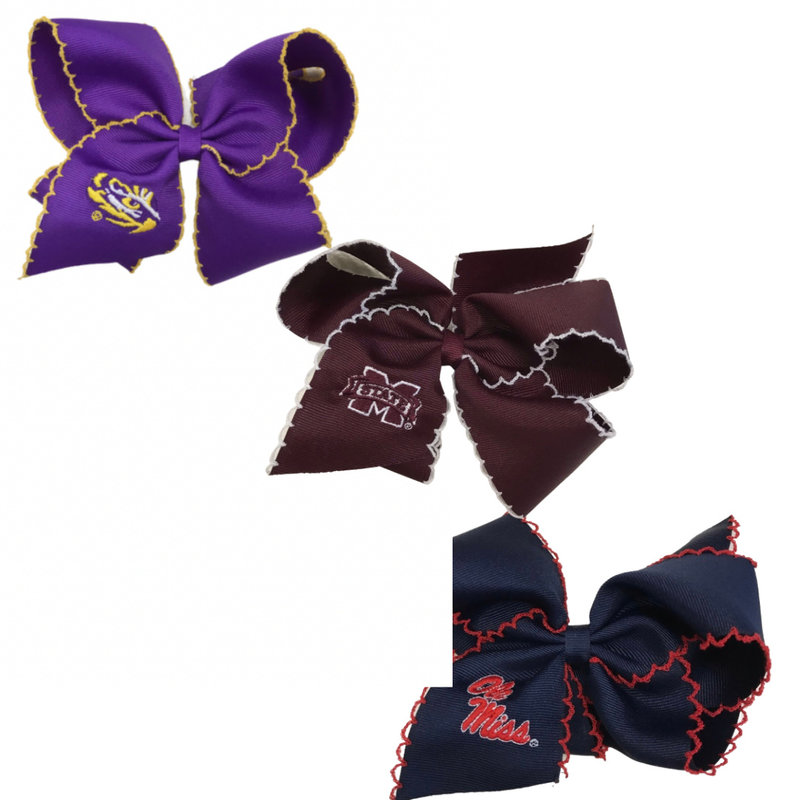 WEE ONES KING GD EMBROID MOONSTITCH BOW