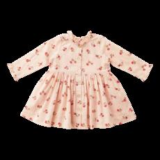 PINK CHICKEN AUTUMN DRESS - LUREX WALLPAPER FLORAL