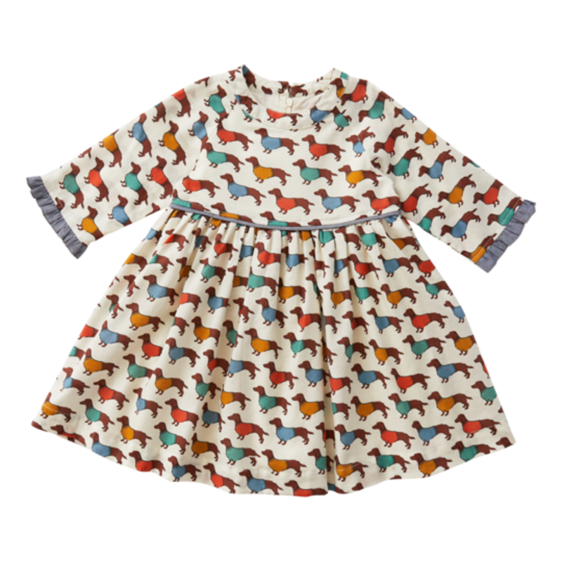 PINK CHICKEN OLIVE DRESS - ANTIQUE WHITE MULTI DACHSHUNDS