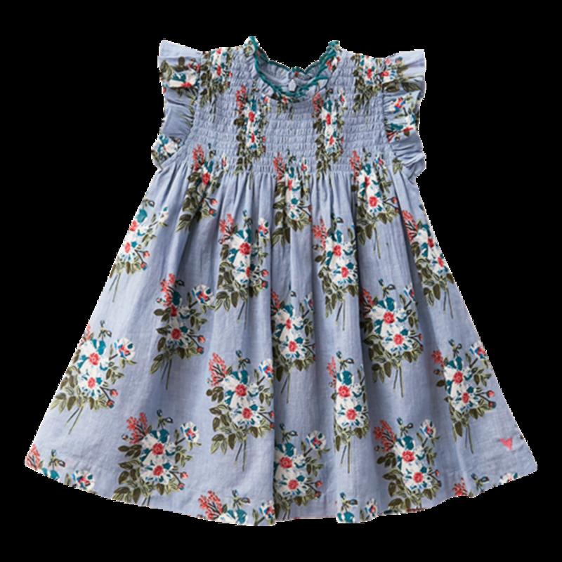PINK CHICKEN STEVIE DRESS - FADED BLUE FRANKEN FLORAL