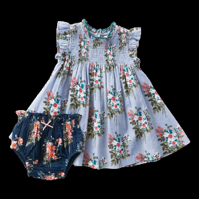 PINK CHICKEN STEVIE DRESS SET - FADED BLUE FRANKEN FLORAL