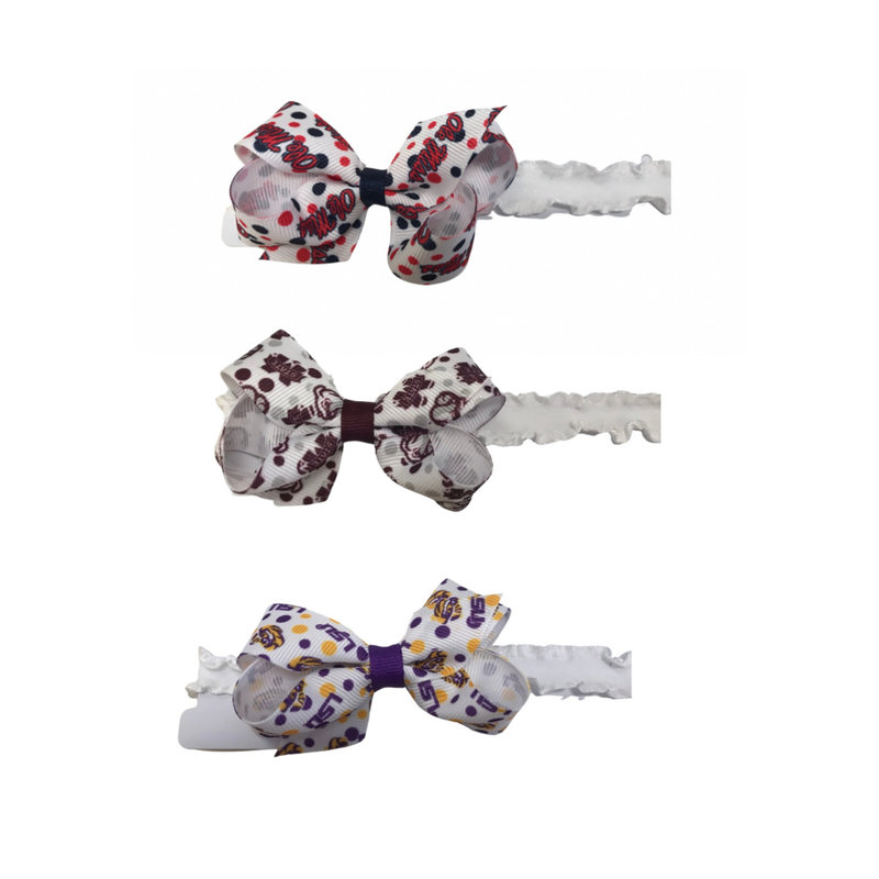 WEE ONES MINI COLLEGE PRINT BOW ON BB