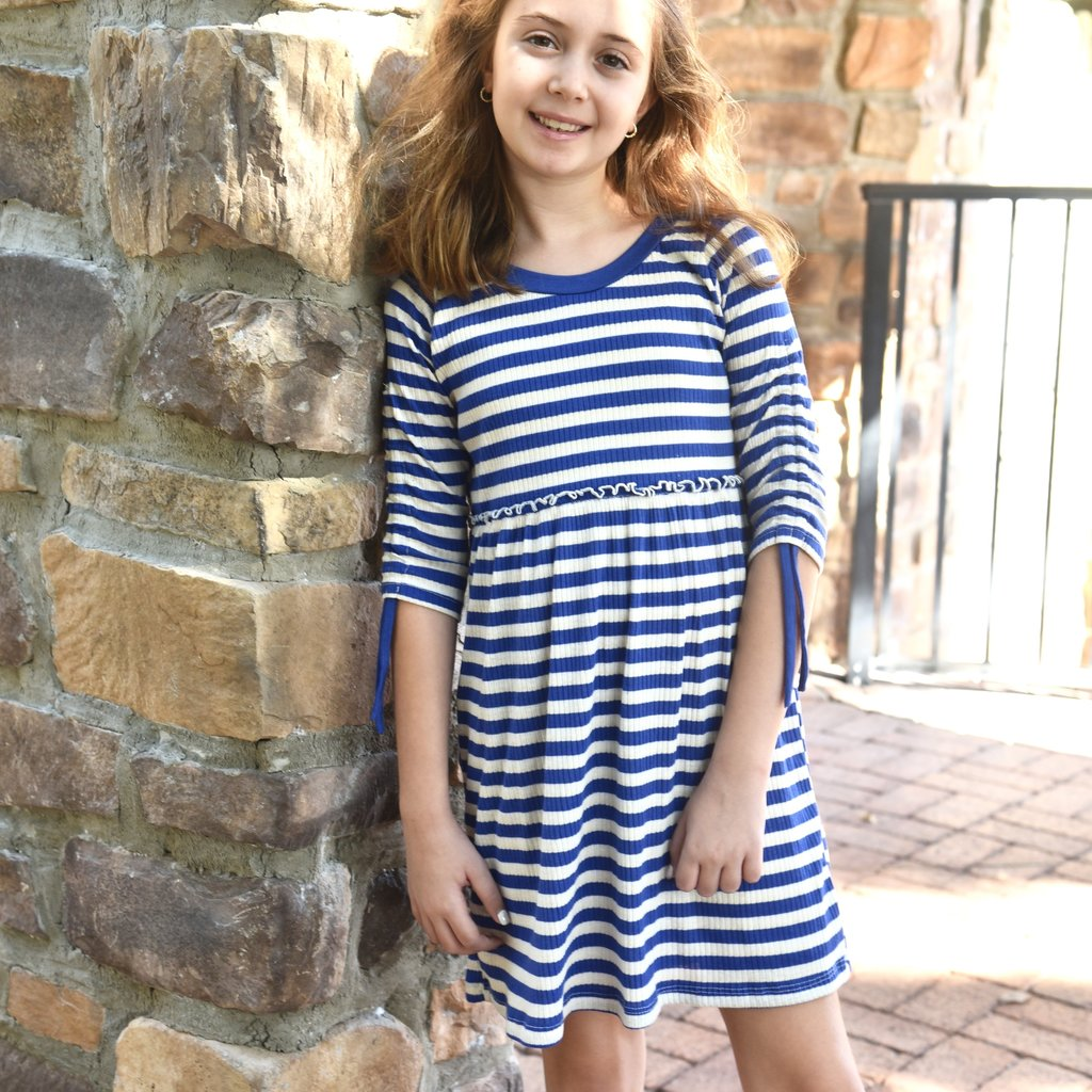ELLA PURPLE BEIGE RIB DRESS