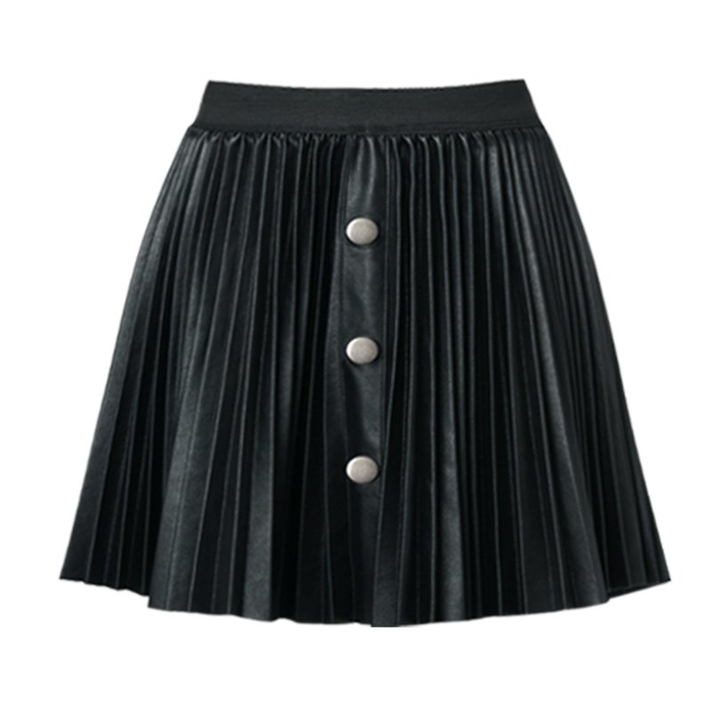 Hannah Banana PLEATED FAUX LEATHER MINI SKIRT WITH FAUX SNAPS - BLACK