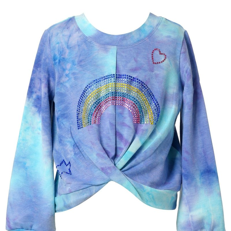 Baby Sara L/S FRONT TWIST TIE DYE TOP AND JOGGERS - BLUE MULTI