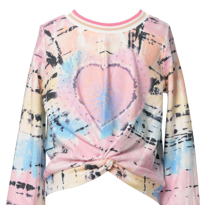 Baby Sara L/S FRONT TWIST TIE DYE TOP AND JOGGERS - PINK MULTI