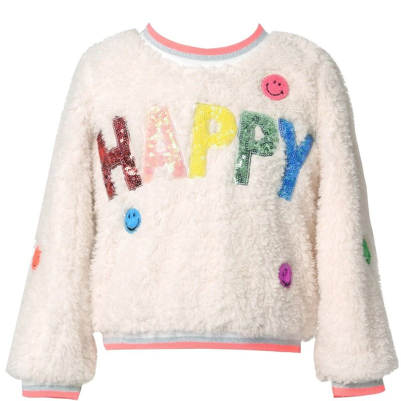 Baby Sara L/S SHERPA TOP WITH HAPPY PATCH DETAIL