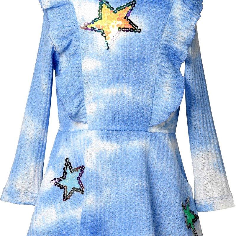 Baby Sara L/S TIE DYE RUFFLE DRESS WITH STAR TRIM - BLUE MULTI