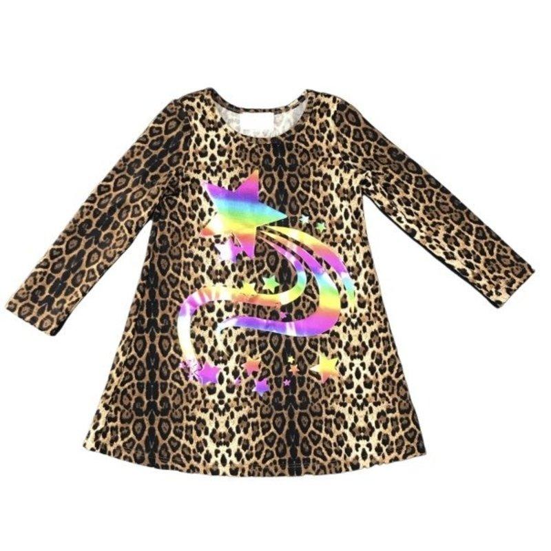 Baby Sara L/S LEOPARD A-LINE DRESS W STAR PRINT DETAIL