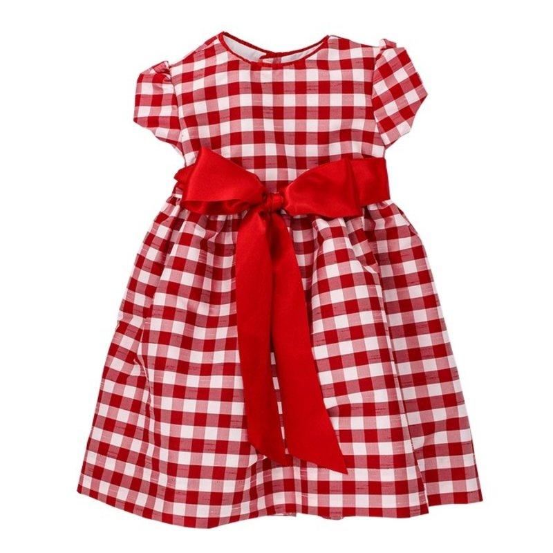 BAILEY BOYS RED CHECK SILK DRESS