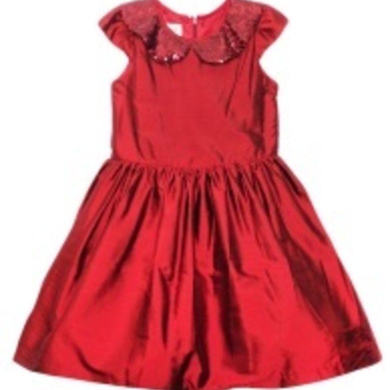 ISOBELLA & CHLOE SEQUIN COLLAR SILK DRESS - RED