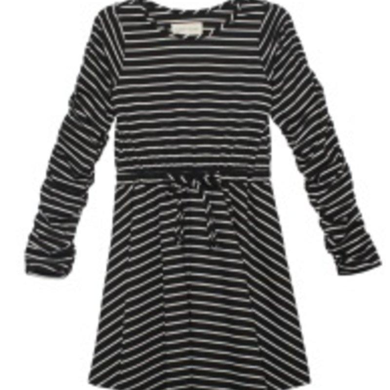 MABEL + HONEY STRIPE RUCHED L/S KNIT DRESS - BLACK