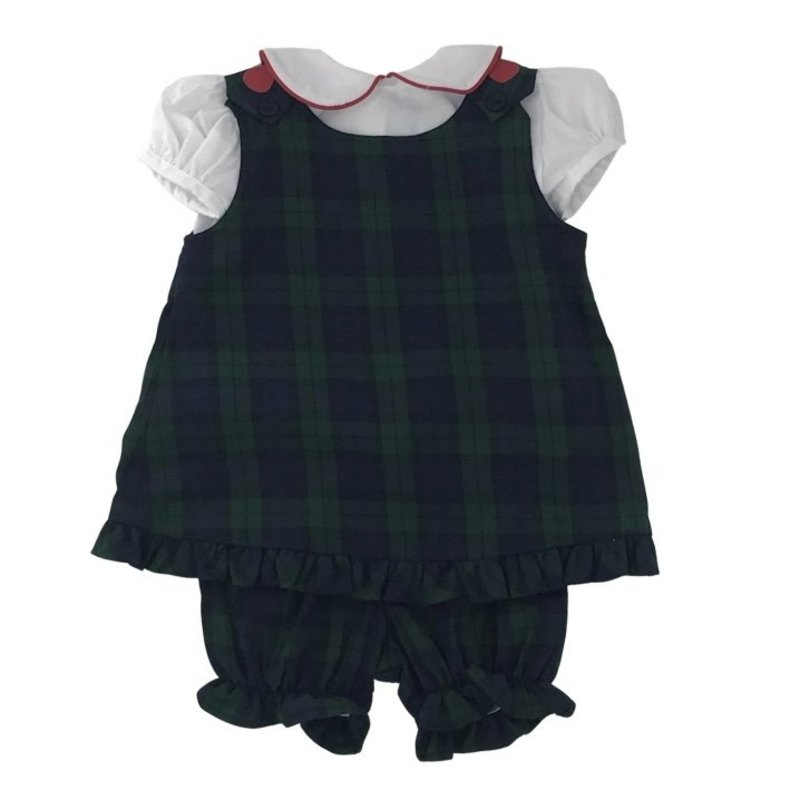 FUNTASIA TOO PLAID BLOOMER SET WITH RIC RAC BLOUSE - APPLES